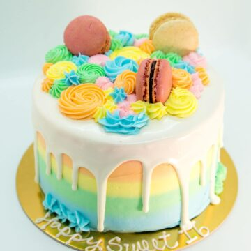 Rainbow Macaron Ombre Cake